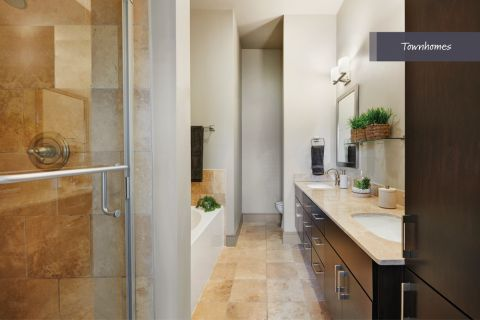 Townhome Bathroom at Camden Belmont Apartments in Dallas, TX