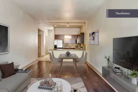 Townhome Living Room at Camden Belmont Apartments in Dallas, TX
