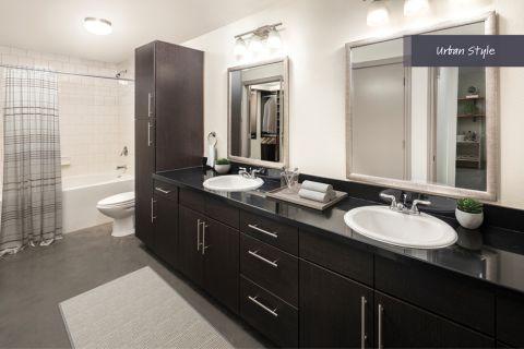 Urban Style Bathroom at Camden Belmont Apartments in Dallas, TX