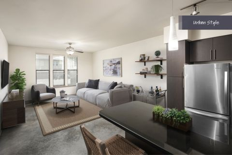 Urban Style Kitchen and Living Room at Camden Belmont Apartments in Dallas, TX