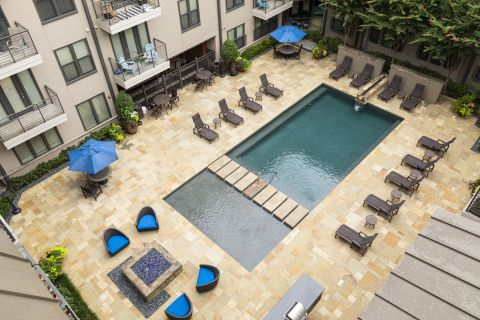 Resort-style pool at Camden Belmont Apartments in Dallas, TX