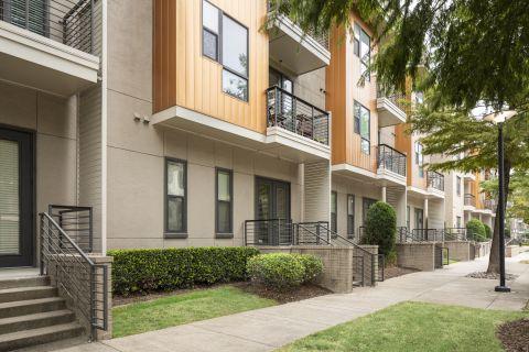 Walk-up patios at Camden Belmont Apartments in Dallas, TX
