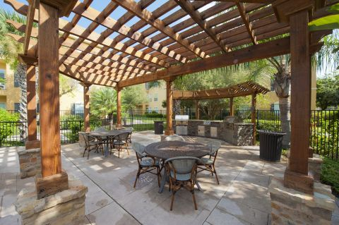 Outdoor Picnic Area with Grills and Pergola at Camden Breakers Apartments in Corpus Christi, TX