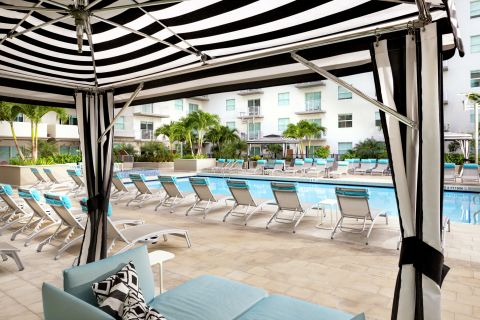Pool Cabana at Camden Brickell Apartments in Miami, FL