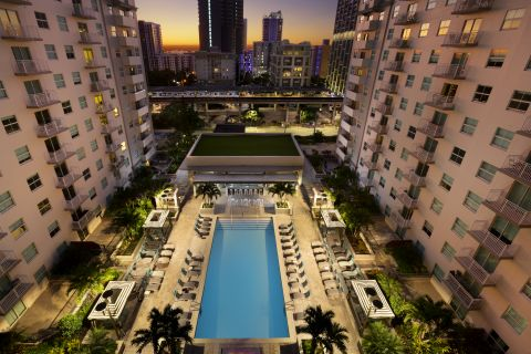 Pool and City Scape at Camden Brickell Apartments in Miami, FL