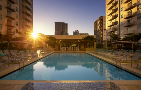 Pool Sunset at Camden Brickell Apartments in Miami, FL