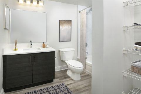 Bathroom at Camden Brickell Apartments in Miami, FL