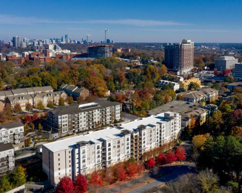 Aerial Exterior at Camden Brookwood Apartments in Atlanta GA