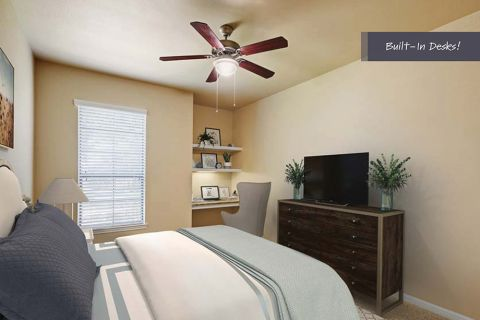 Bedroom with Built-In Shelving at Camden Brushy Creek Apartments in Cedar Park, TX