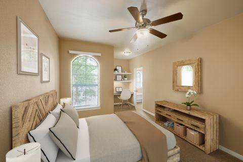 Bedroom with home office space at Camden Brushy Creek Apartments in Cedar Park, TX