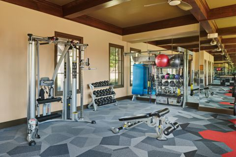 24-hour Fitness Center with Smith Machine at Camden Brushy Creek Apartments in Cedar Park, TX
