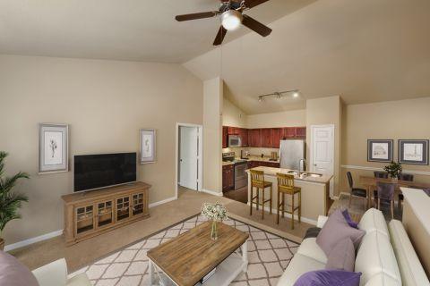Top Floor Living Room at Camden Brushy Creek Apartments in Cedar Park, TX