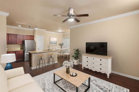 Living Room at Camden Brushy Creek Apartments in Cedar Park, TX
