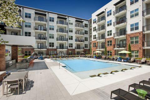 Pool deck at Camden Buckhead Square Apartments in Atlanta, GA