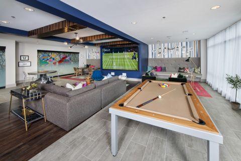 Clubroom billiards table at Camden Buckhead Square Apartments in Atlanta, GA