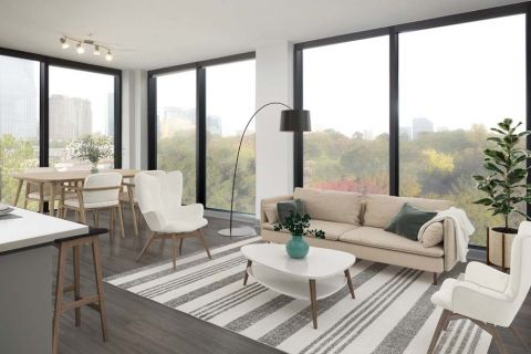Living room and dining room at Camden Buckhead Square Apartments in Atlanta, GA