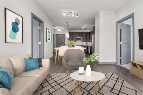 Living Room at Camden Buckhead Square Apartments in Atlanta, GA