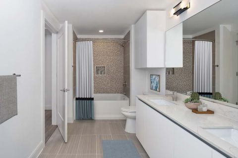 White Contemporary bathroom  at Camden Buckhead apartments in Atlanta, GA