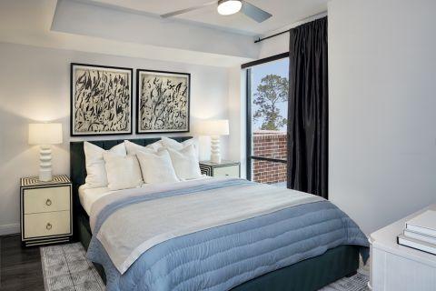 Modern Gray Bedroom at Camden Buckhead apartments in Atlanta, GA