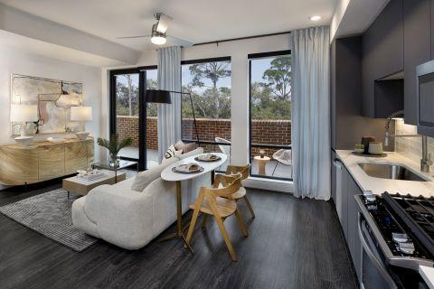 Modern Gray Kitchen and Living Room at Camden Buckhead apartments in Atlanta, GA