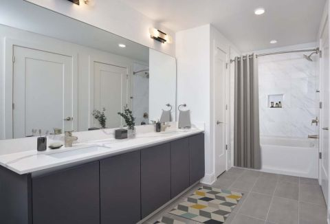 Modern Gray Bathroom at Camden Buckhead apartments in Atlanta, GA