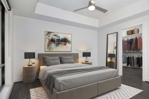 Modern Gray Bedroom at Camden Buckhead apartments in Atlanta, GA
