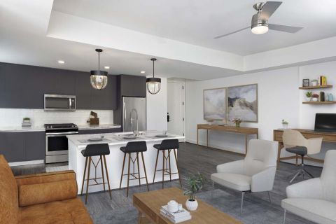 Modern Gray Living Room and Kitchen at Camden Buckhead apartments in Atlanta, GA
