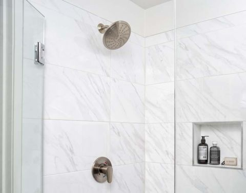 Quartz Style Tile Surround Shower at Camden Buckhead apartments in Atlanta, GA