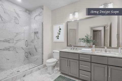 Bathroom with grey design scope at Camden Carolinian in Raleigh North Carolina