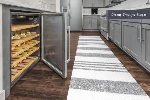 Kitchen with wine fridge and grey design scope at Camden Carolinian in Raleigh North Carolina