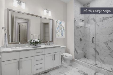Bathroom with white design scope at Camden Carolinian in Raleigh North Carolina