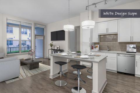 Kitchen with white design scope at Camden Carolinian in Raleigh North Carolina