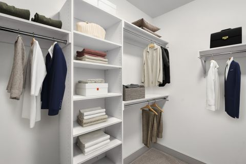 Closet with gray finishes at Camden Carolinian in Raleigh North Carolina