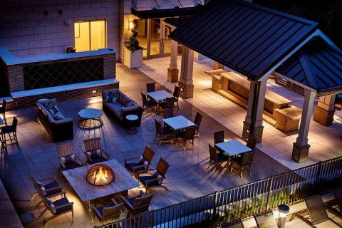 Outdoor fireside lounge at Camden Carolinian in Raleigh North Carolina