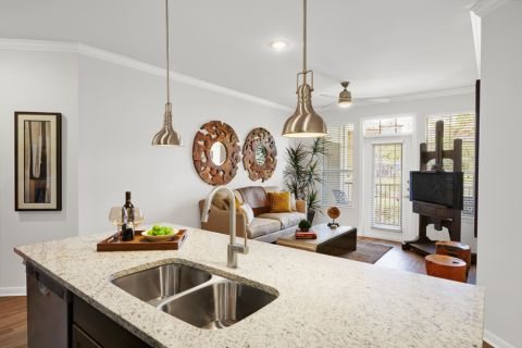 Large Kitchen Island and Living Room Flow at Camden Cedar Hills Apartments in Austin, TX