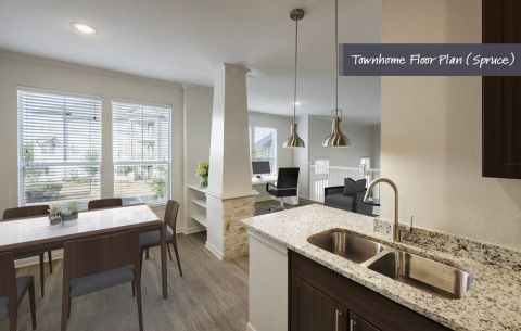 Townhome Kitchen and Dining Room at Camden Cedar Hills Apartments in Austin, TX