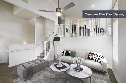Townhome Spacious Living Room at Camden Cedar Hills Apartments in Austin, TX