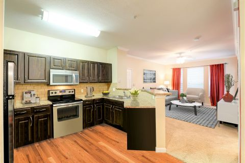 Open kitchen and living room at Camden Centreport Apartments in Ft. Worth, TX
