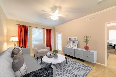 Living room with carpet at Camden Centreport Apartments in Ft. Worth, TX