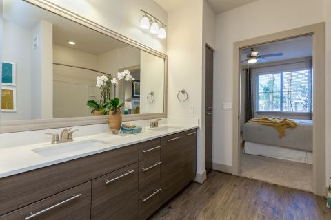 Bathroom with Dual Vanity Sinks at Camden Chandler Apartments in Chandler, AZ