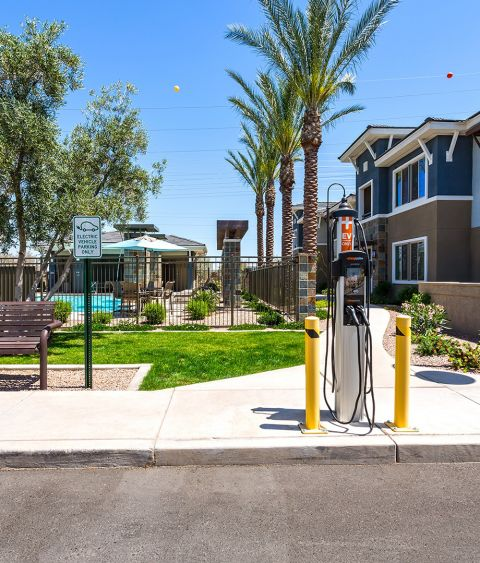 Electric car charging station at Camden Chandler Apartments