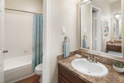 Bathroom with Vanity at Camden Cimarron Apartments in Irving, TX