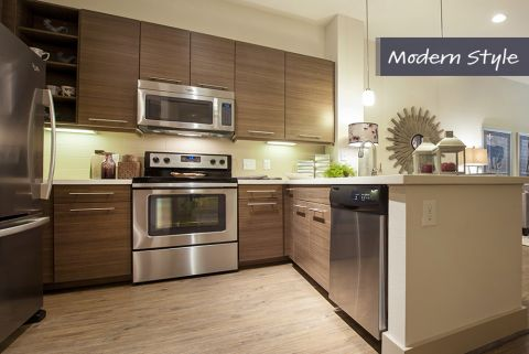 Modern Style Kitchen at Camden City Centre Apartments in Houston, TX