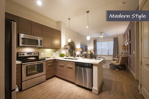 Modern Style Kitchen with stainless steel appliances at Camden City Centre Apartments in Houston, TX