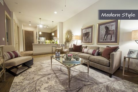 Modern Style Living Room at Camden City Centre Apartments in Houston, TX