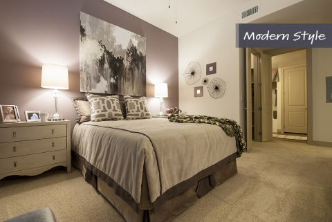 Modern Style Bedroom at Camden City Centre Apartments in Houston, TX