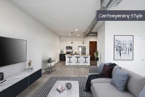 Contemporary Style Living Room and Kitchen at Camden City Centre Apartments in Houston, TX
