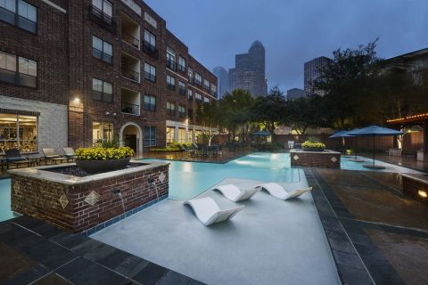 Resort-Style Pool with WiFi at Night at Camden City Centre Apartments in Houston, TX