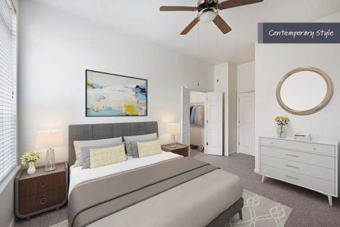 Contemporary Style Bedroom at Camden City Centre Apartments in Houston, TX