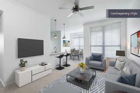 Contemporary Style Living Room at Camden City Centre Apartments in Houston, TX